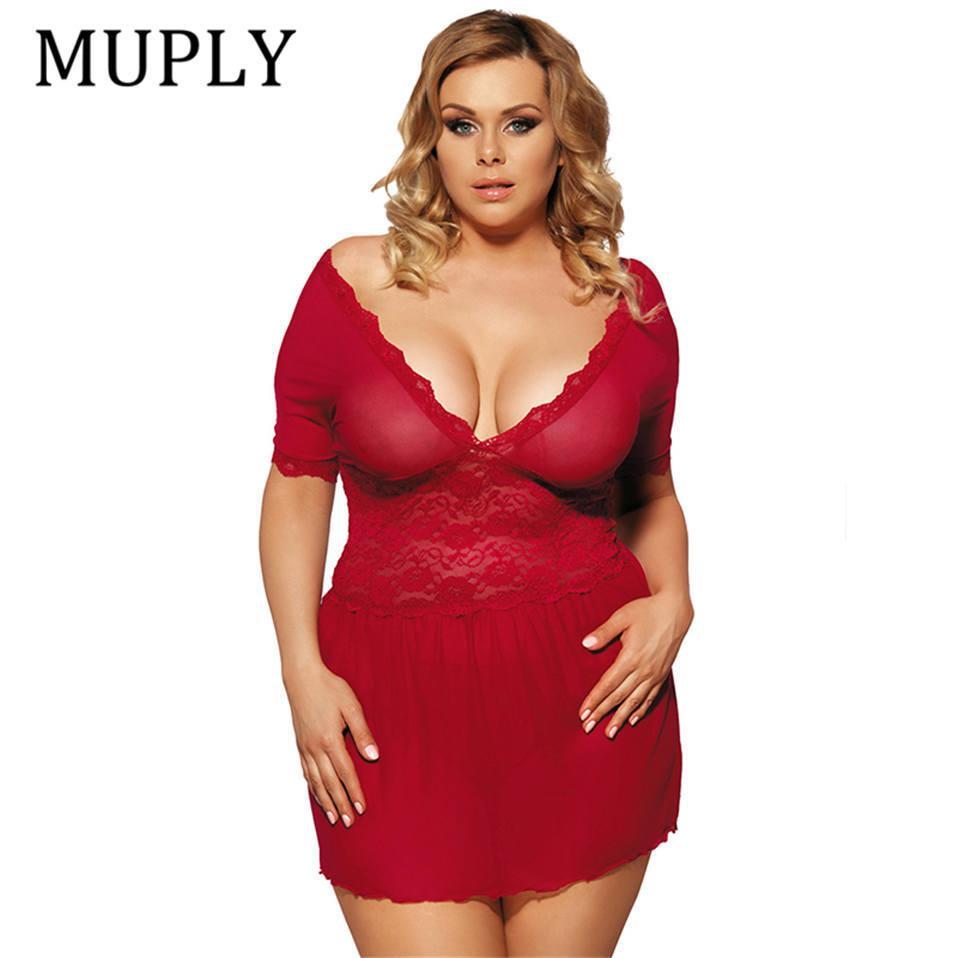 16e59f429fc Sexy Lingerie Lace Deep V Plus Size Lingerie Sleepwear V Back Langerie Sex Red  Women Sexy Lingerie Babydoll Underwear Robe Solid D18110801 Luxury  Sleepwear ...
