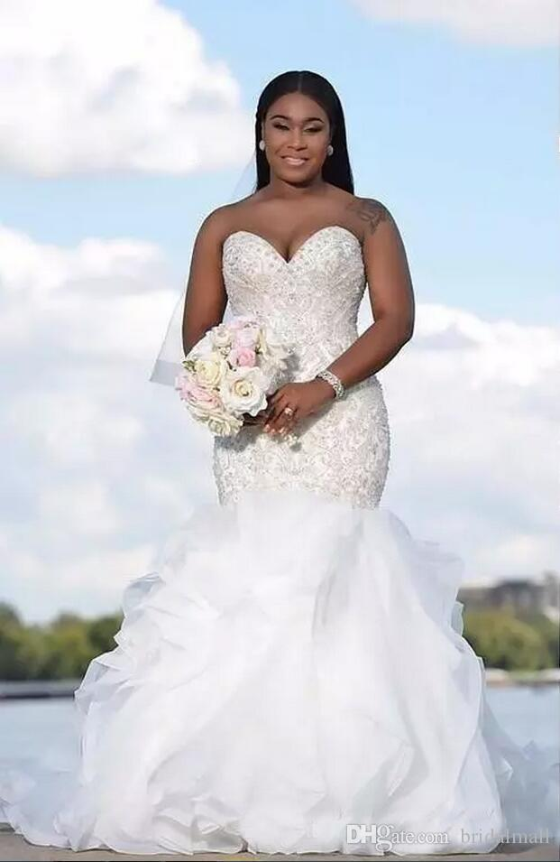 2018 Luxury Arabic Sweetheart Cascading Ruffles Mermaid Wedding Dresses South African Beads Backless Beading Crystals Bridal Gowns Plus Size