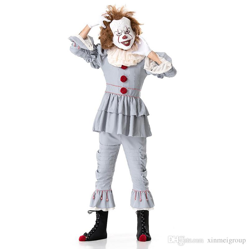 Adult Stephen King Cosplay Costume Pennywise Costume Clown Costume  Halloween Costumes For Men Custom Suit W411002 Costumes For A Party T  Themed Costumes ... 904694cd306