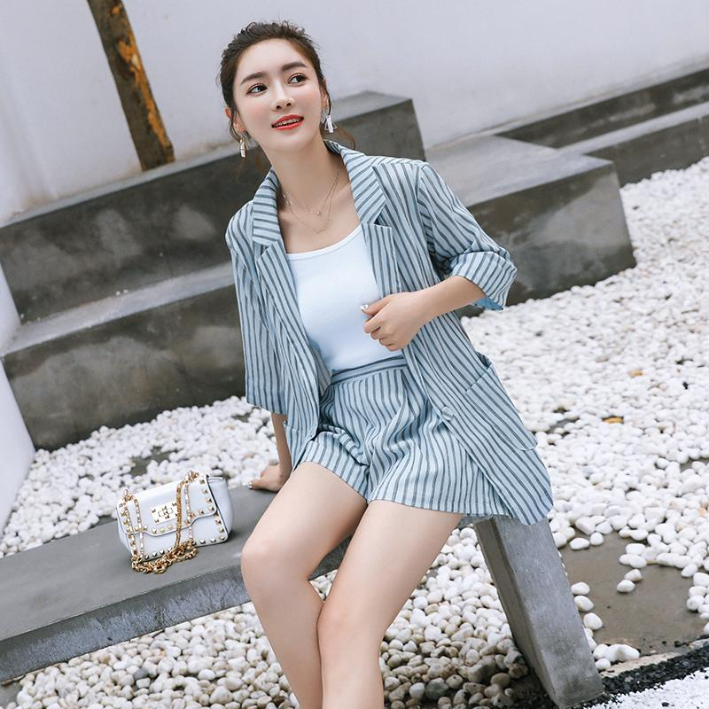 8156fab0d1 2019 BGTEEVER Summer Striped Work Sets Short Suits For Women Thin Styel  Blazer & Hot Shorts Ladies Suit Set 2018 Feminino From Xiatian7, $38.44 |  DHgate.Com