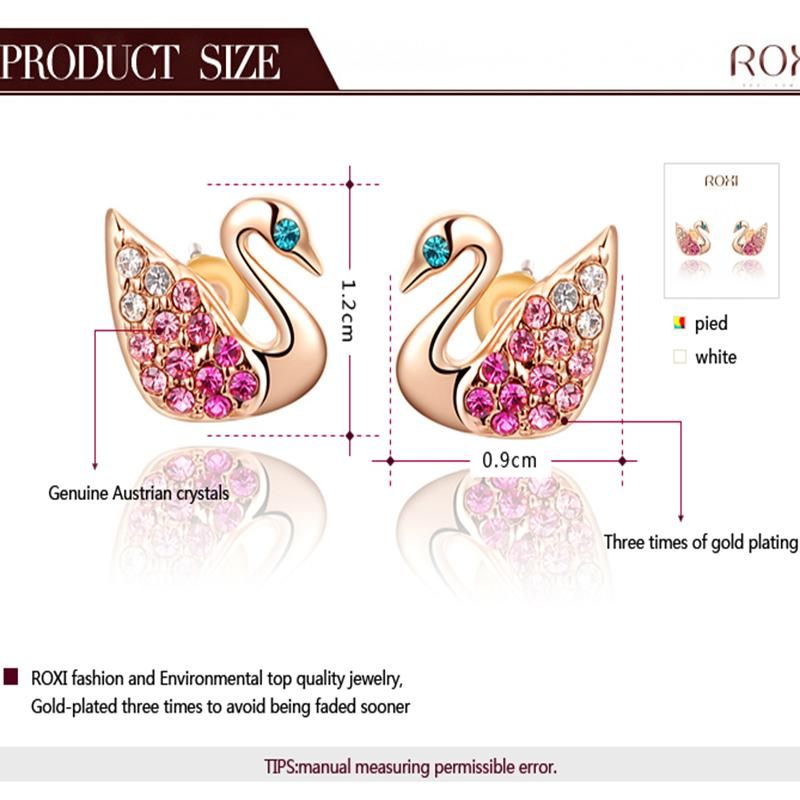 ROXI Fashion Jewelry Earring For Women Small Swan Earrings Gold / Sliver Color Colorful Stud Earrings Brincos Grandes For Women