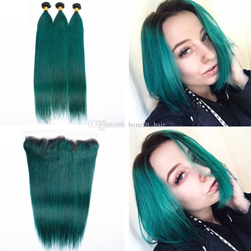 Ombre Color 1b Dark Green Hair Weaves With Lace Frontal 13x4 Two