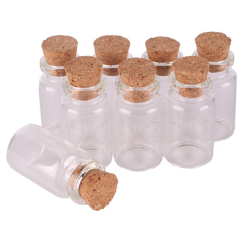 Tamaño 22 * 40 * 12.5mm 7 ml Mini Perfume de Cristal Botellas de Especias Frascos Pequeños Frascos Con tapón de corcho colgante artesanía regalo de boda 100 unids