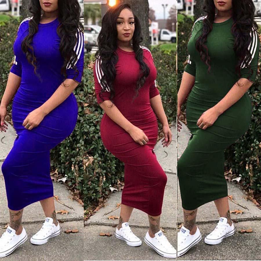 b8cf0f9371459 Women Casual Plus Size Dress Vestidos 2018 summer Dresses Striped Half  Sleeve Street Wear Beach Robe Sexy Midi Bodycon Dress