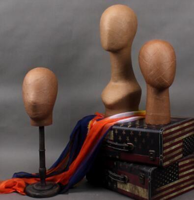 Kraft Brown Mannequin Head Hat Display Wooden Stand 4 Style