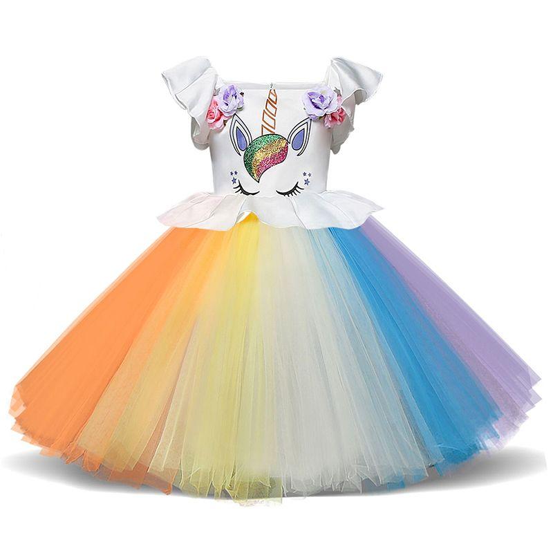 abe1ded00792f1 Robe de fille 1 an fête d anniversaire bébé vêtements enfants Licorne  Costume de Noël enfants robe arc en ciel coloré