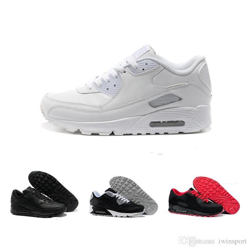 promo code c93dc 1ca5a Acheter Nike Air Max 90 Noir, Blanc Et Rouge De Haute Qualité Rembourré 90  Sneakers Sneakers Femme Et Homme Respirant 36 45 Euros De  57.86 Du Lukobe  ...