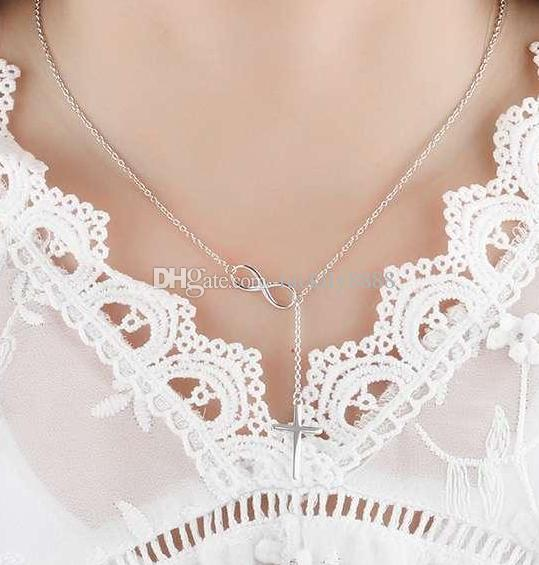 Silver Plated Cross Pendent Infinity Cross Necklace Cross Chain Necklaces For Women