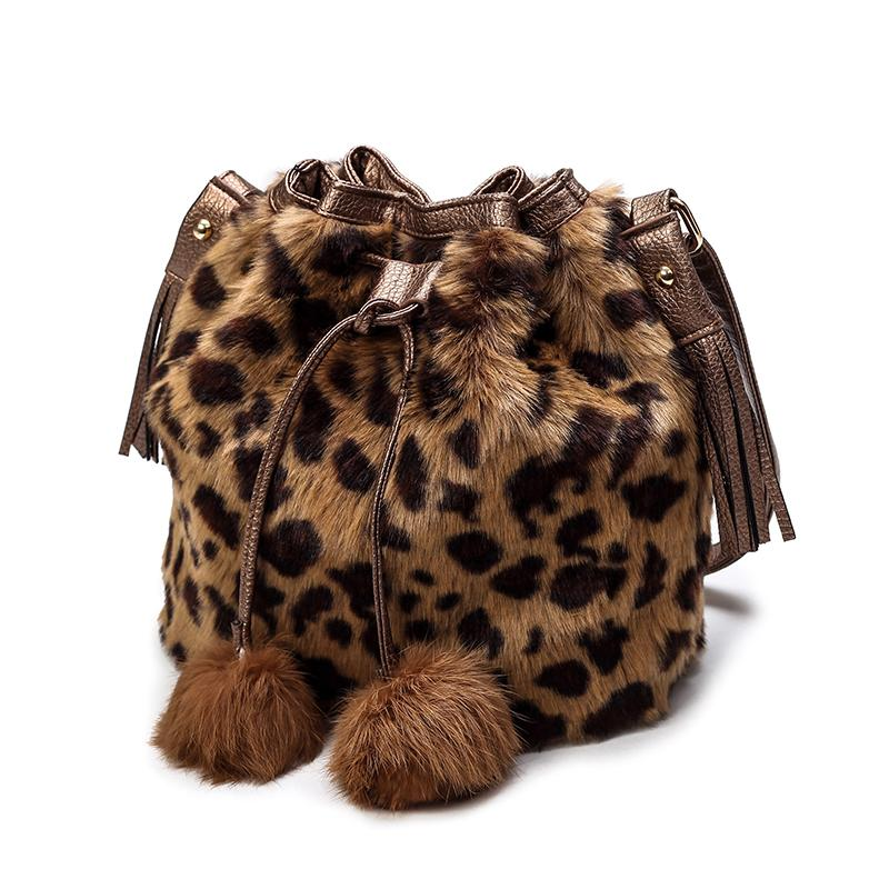 6b17769add6f Faux Fur Bucket Bag Leopard Cute Fur Hairball Female Shoulder ...