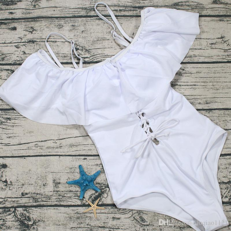 Black White Swimming Suit Sexy Solid Lace Print Sandy Beach Double Shoulder Strap One-pieces Low Chest Bandage Swimsuit