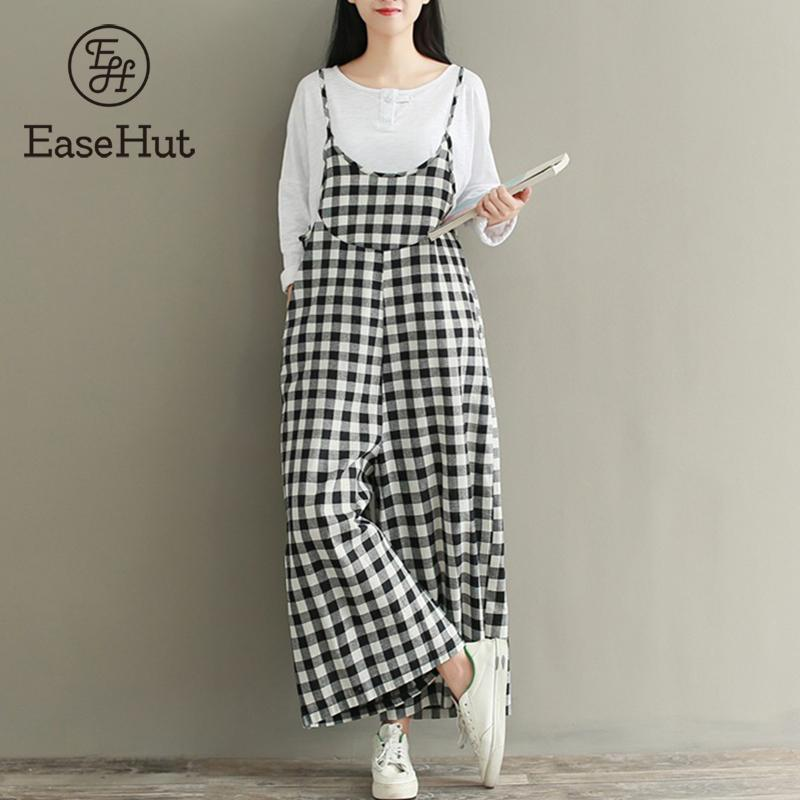 e211b05ddbf1 2019 EaseHut Plus Size Rompers Women Check Plaid Dungaree Jumpsuits Overalls  Vintage Strappy Casual Loose Harem Pants Long Trousers From Honhui