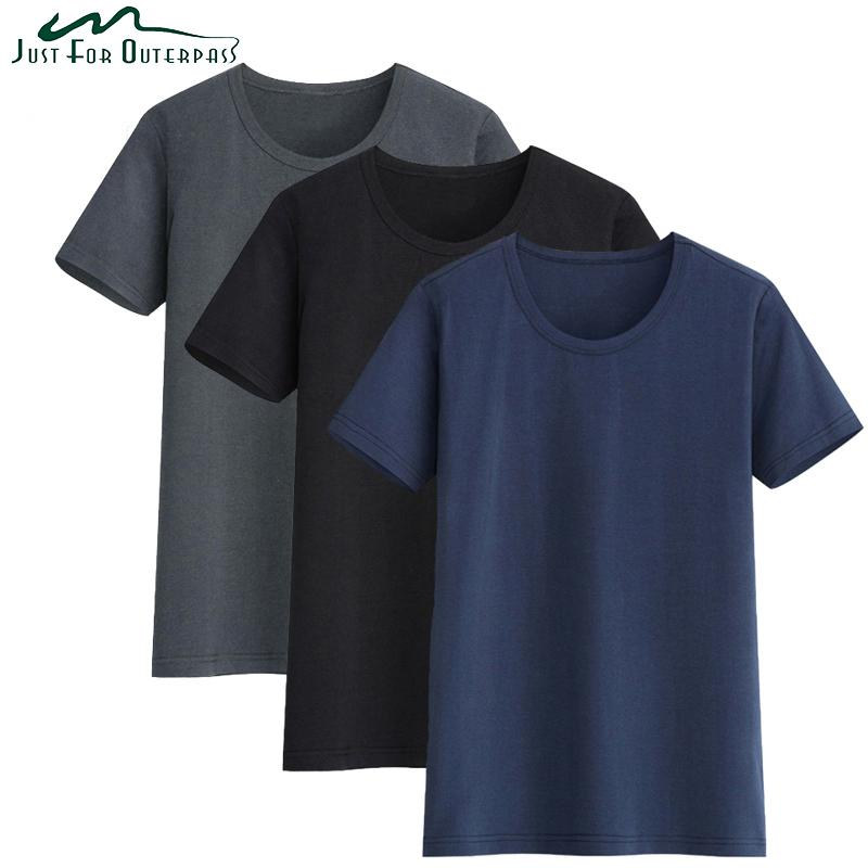 3 Lote 2018 Summer New High Quality Men Camiseta Casual manga corta O-cuello 100% algodón Casual Brand White Black Tees Shirt