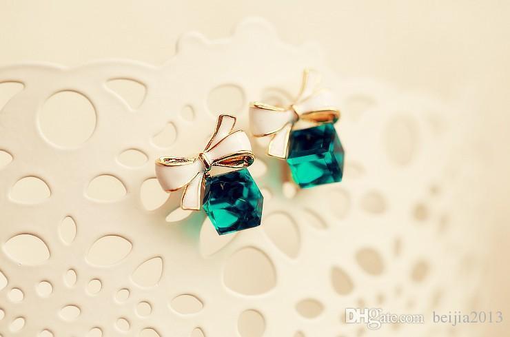 Chic Pırıltılı Saplama Küpe Yay Düğüm Kübik Yeşil Mavi Kristal Küpe Rhinestone Kadınlar Için Pendientes Yüksek Kalite Moda