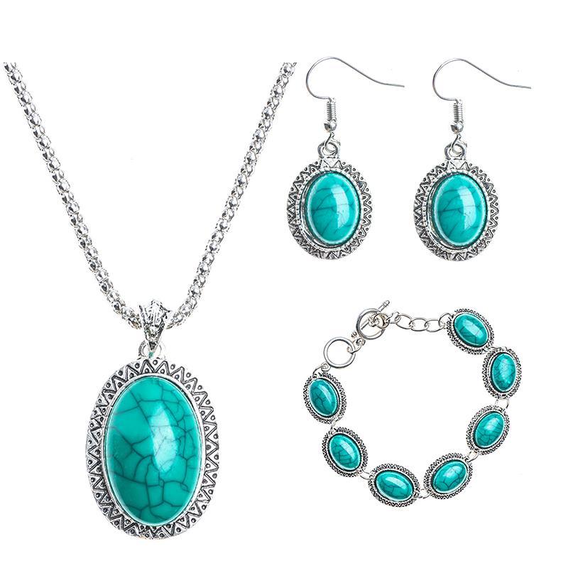 13099f1a7473 Compre QCOOLJLY Look Vintage Color Plata Antiguo Girasol Azul Piedra  Colgante Collar Pulsera Pendientes Conjuntos De Joyería MH2418 A  35.79 Del  Heheda1 ...