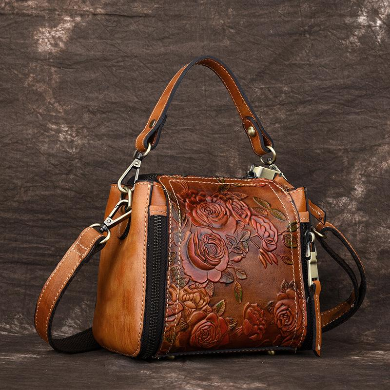 244f3fbac937 Beautiful Flowers Vintage REAL Genuine Leather Bag Casual Shoulder  Crossbody Bag Mini Handbag Luxury Party Women Messenger Bags