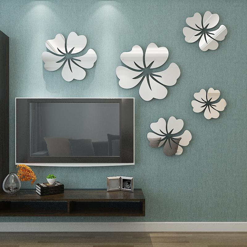 Flower Pattern Wall Sticker Home Decor 3d Wall Decal Art Diy Mirror