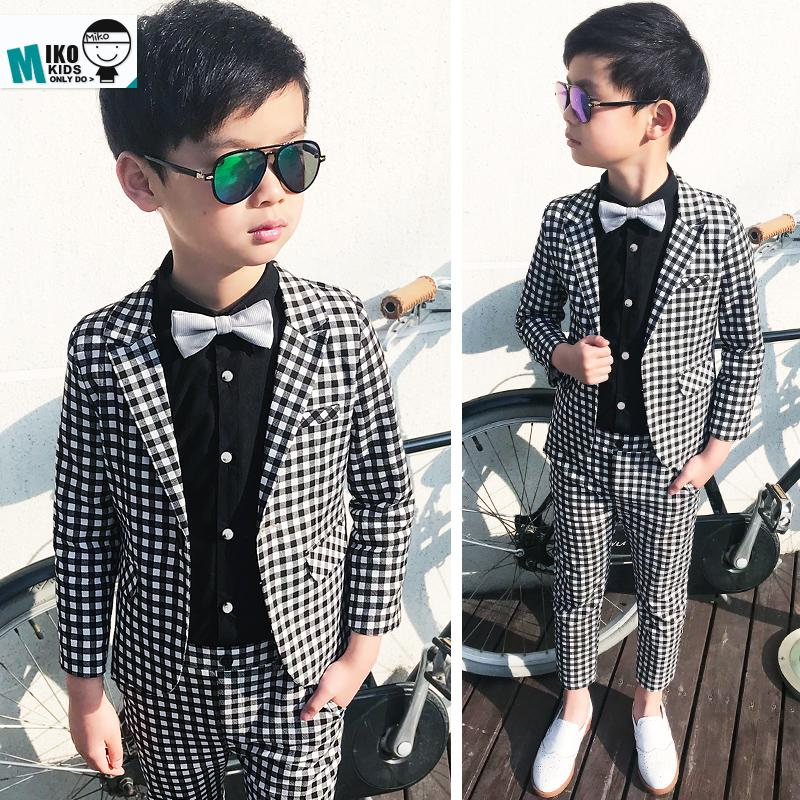 4bc29b76a 2019 2018 Child Suits British Style Kids Dress Leisure For Party 2 10Years Wedding  Flower Boy Dress Plaid Fashion Slim Suits From Anglestore, ...