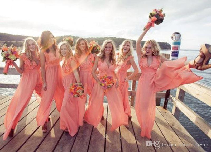 V Neck Floor Length Sleeveless Chiffon Ruffle Colorful Jumpsuit 2018 Custom Made Vintage Evening Gowns Bridesmaid Dresses