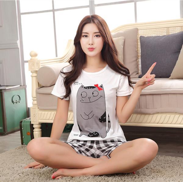 Summer Cartoon Pijamas Men Shorts Women's Lounge Couple Pajama Set Plus Size Sleepwear Pyjamas Home Clothes XXL E0371