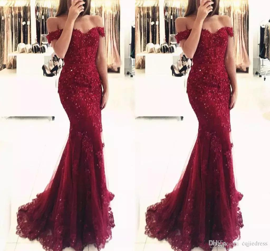 Elegant Burgundy Off the Shoulder Beaded Lace Mermaid Prom Dresses 2018 Short Sleeves Floor Length Formal Evening Gowns Vestido de Fiesta