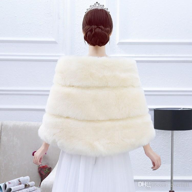 JaneVini Champagne Wedding Shrugs Faux Fur Bridal Shawl Boleros Wedding Wrap Capes Jacket for Evening Party Dresses Bolero Mariage 2018