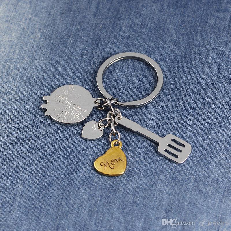 Eu Te Amo Mãe Utensílios De Cozinha Louça Colher Garfo Charme Membro Da Família Gravado Em Forma De Coração Keychain KeyRing Presente Do Dia Das Mães