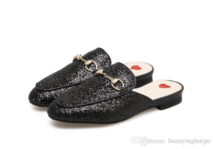 2018 summer Brand Princetown Women Slippers Luxury Designer Fashion Genuine Leather Loafers Shoes Metal Chain Ladies Casual Mules Flats New