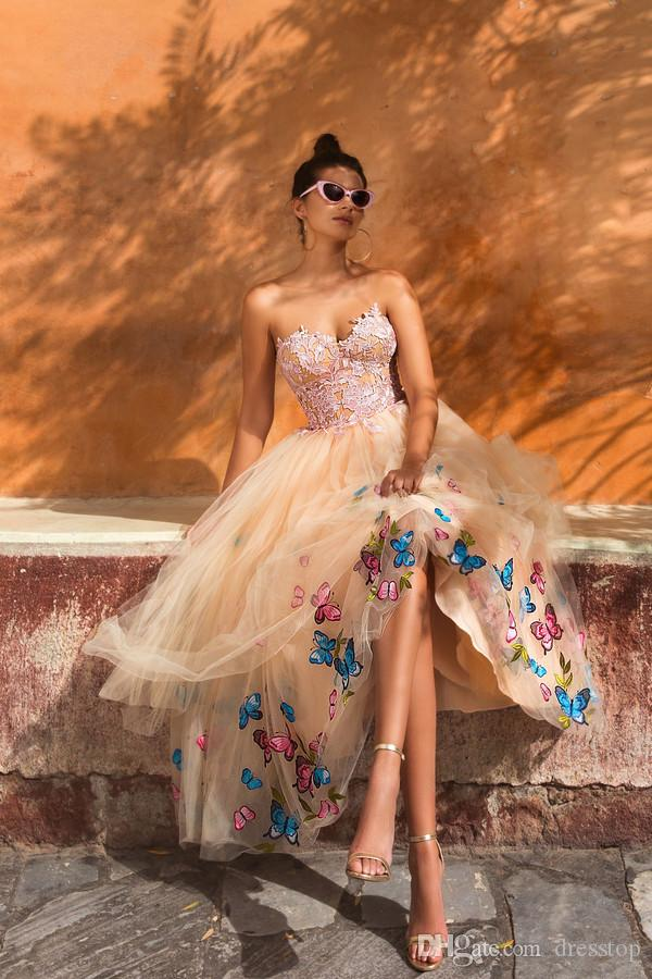 Sweetheart A Line Prom Dresses Lace Appliques Butterfly Decorations Formal Evening Dress Tea Length Backless Cheap Party Gowns