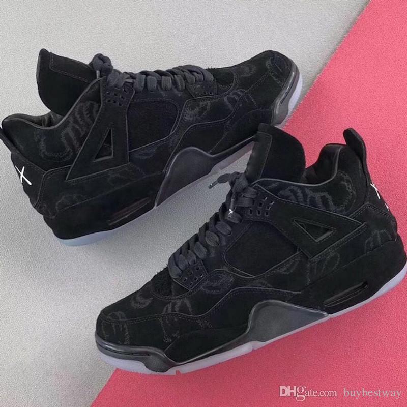 e644881ac8ab80 KAWS X 4 XX Kaws Cool Grey White Black Glow Basketball Shoes Mens ...