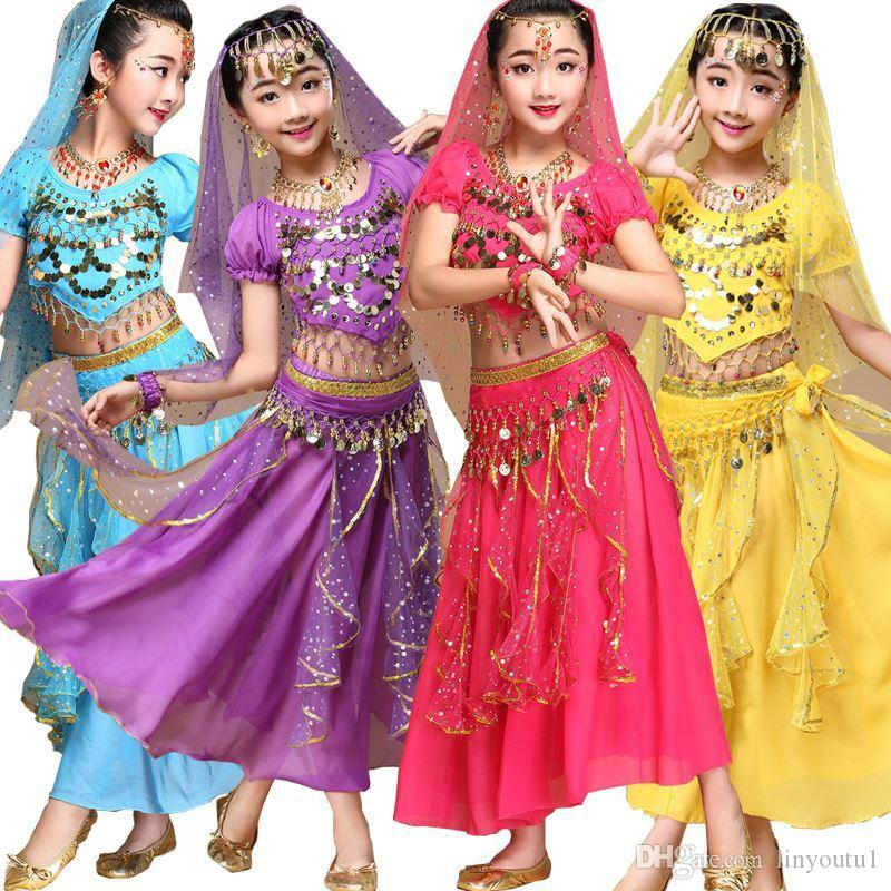 4 pezzi (top + pantaloni + cintura + catena a mano) Bambini Belly Dance Costumes Bambini Belly Dancing Girls Bollywood Indian Performance Cloth Set