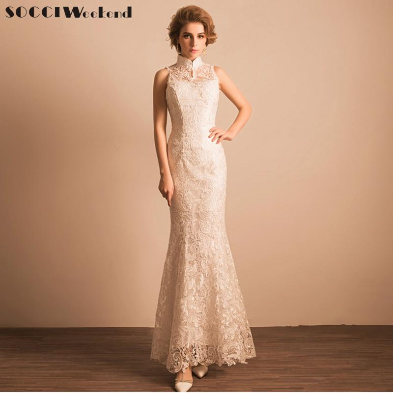 Wholesale New Ivory Snow White Wedding Dress Lace Long Chinese Style Mermaid Lady Girl Women Princess Banquet Party Gowns