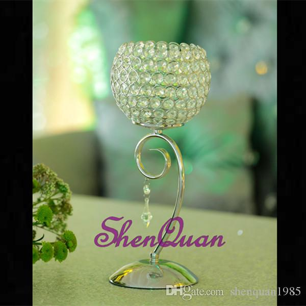 stainless steel & glass home decorative hurricane candlestick,chic silver crystal candle holder