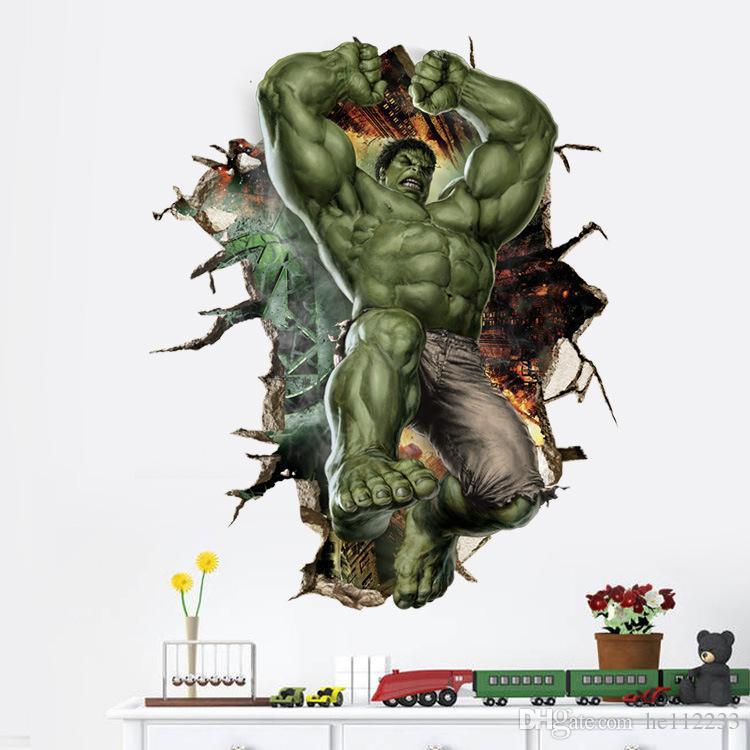 Die Hulk Cartoon 3D Wandaufkleber Tapeten PVC Wasserdicht Abnehmbare Wandbilder Schlafzimmer Wohnzimmer Hintergrund Dekoration