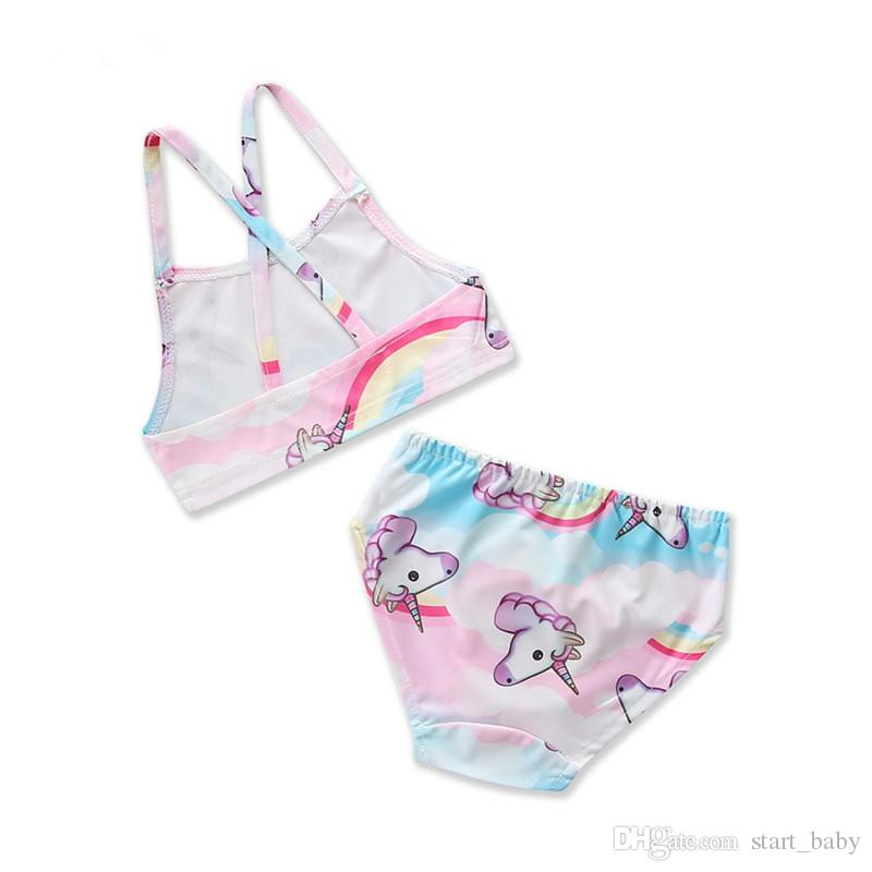 4d84d37c1e Baby girls unicorn Swimwear outfits children print top+shorts 2pcs/set  cartoon Swimsuit new Bikinis Boutique Kids Two-Pieces B11