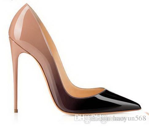Туфли Лакированная кожа Pigalle Heels WOMEN Свадебные туфли с острым носом на тонких каблуках сексуальная женщина красный Черный, высокие каблуки Фиолетовый, овчина 35-44