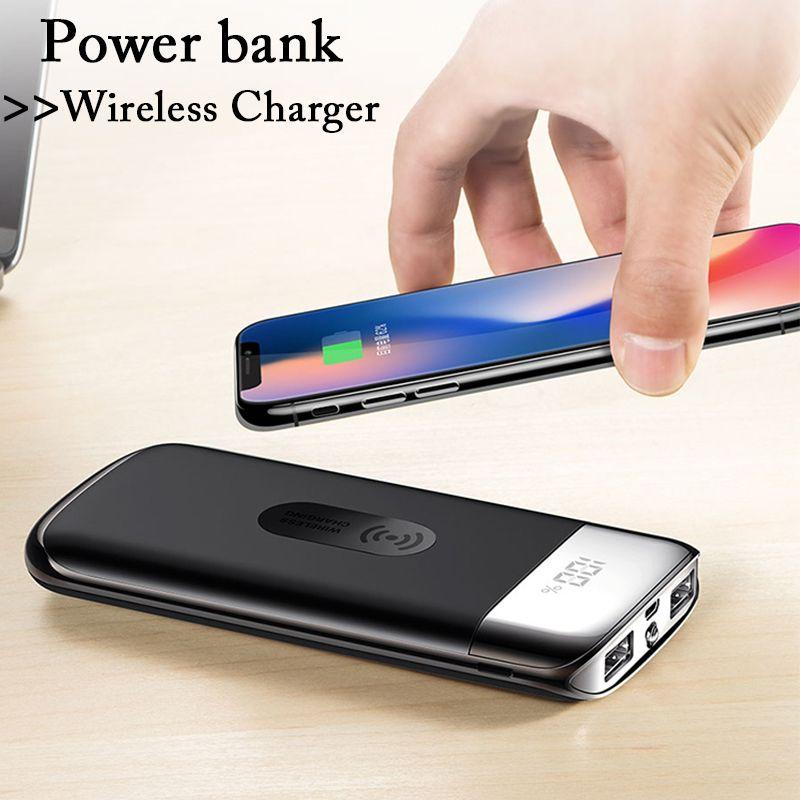 88159e8fe Compre QI Cargador Inalámbrico 20000 Mah Banco De Energía Banco De Batería  Externo Cargador Inalámbrico Incorporado Powerbank Portátil Para Xiaomi  IPhone ...