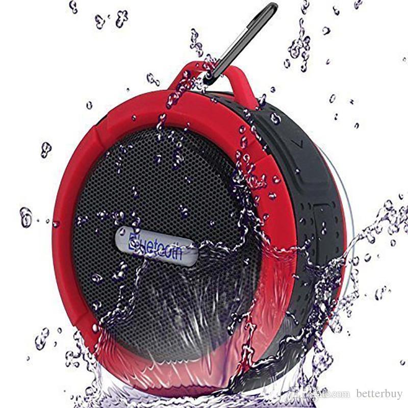 C6 Haut-Parleur Bluetooth Haut-Parleur Sans Fil Potable Audio Player Étanche Haut-Parleur Crochet Et Ventouse Stéréo Lecteur de Musique Haute Qualité