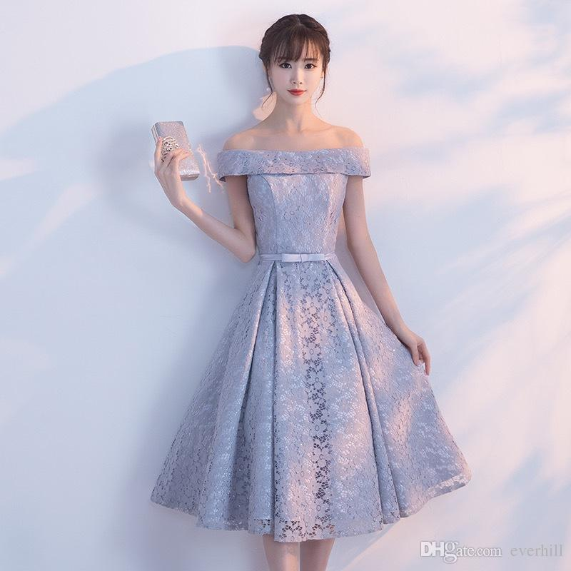 eff6b7f09c Ankle Length Prom Dresses 2018 Off Shoulder Short Prom Dress Lace Light  Gray Vestiti Da Prom A Line Short Sleeve Simple Teens Formal Dresses Canada  2019 ...