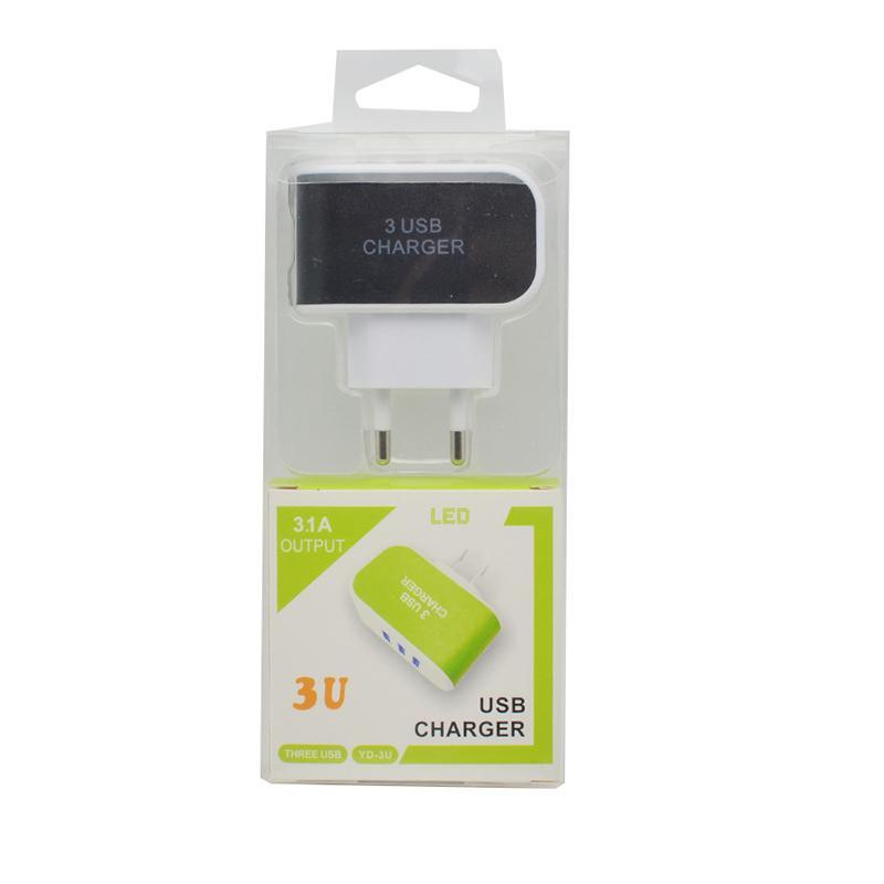 ABD, AB Tak 3U Duvar Güç şarj 5 V 2.1A Seyahat Adaptörü Üçlü USB Portları ile Cep Telefonu Için LED Işık Işık Şarj