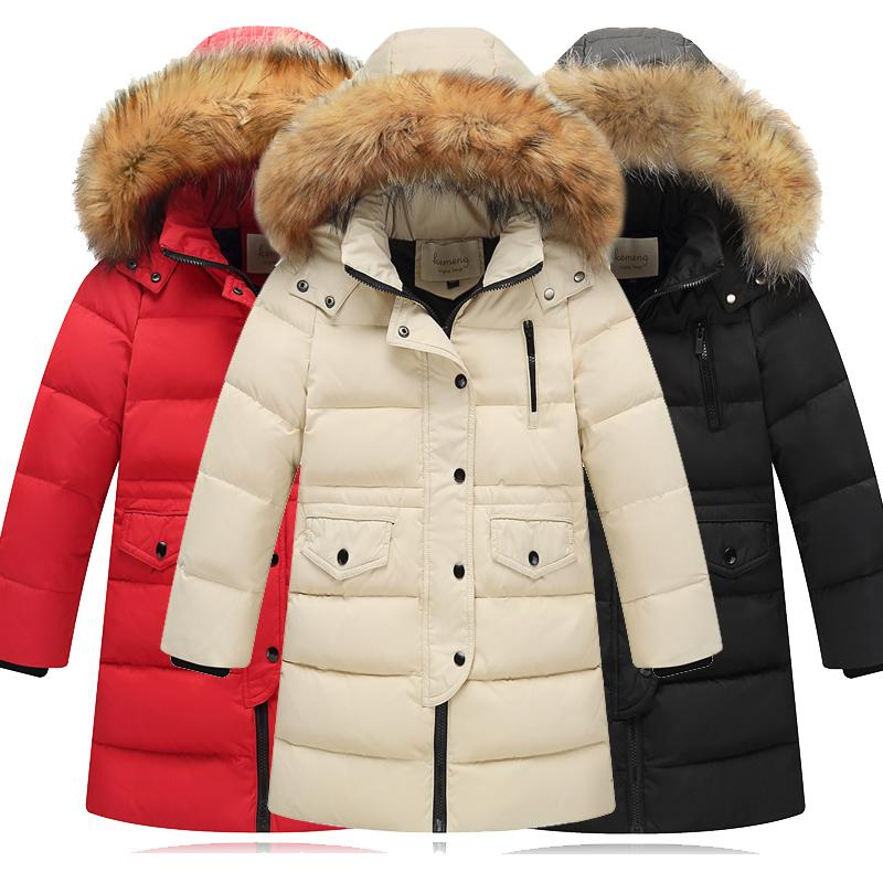 954f8c4a5 30 Degrees Girls Fur Hooded Warm Down Coats Boys Girls Long Section  Windproof Jacket Kids Thickening Jackets For Russia Winter Y18102607 Infant Down  Jackets ...