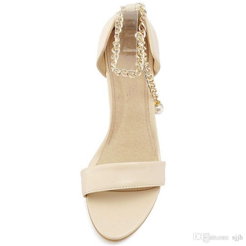 SJJH 2018 Sandals with High Chunky Heel and Open Toe Elegant Working Dressy Shoes for Fashion Woman with Large Size Available A376