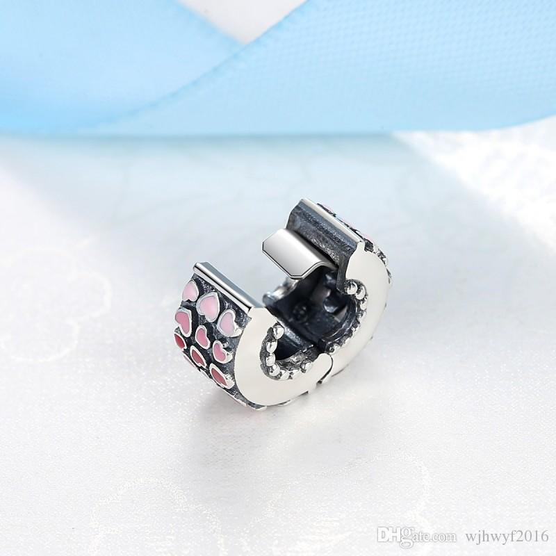 2018 Spring New Authentic 925 Sterling Silver Bead Burst of Love Clip, Mixed Enamel Clips Stopper Fit Pandora Bracelets DIY Jewelry Making