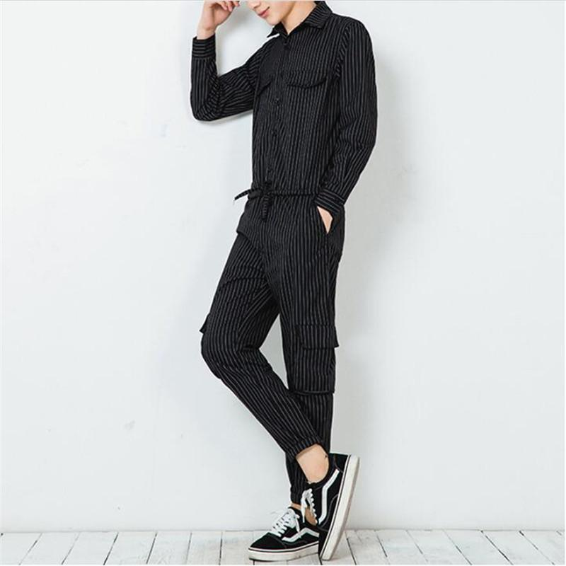 e6dcfadf4fa 2019 100% Cotton Striped Belt Jumpsuit Men Nightclub Slim Fit Rompers  Fashion Hip Hop Overalls Male Summer 2018 Straight Trouser From Dreamcloth