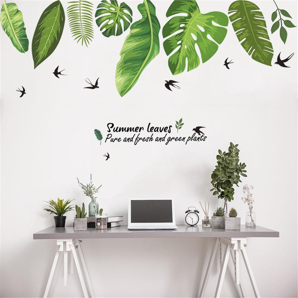 Home Tropical Jungle Green Leaves Wall Sticker Decoration Living
