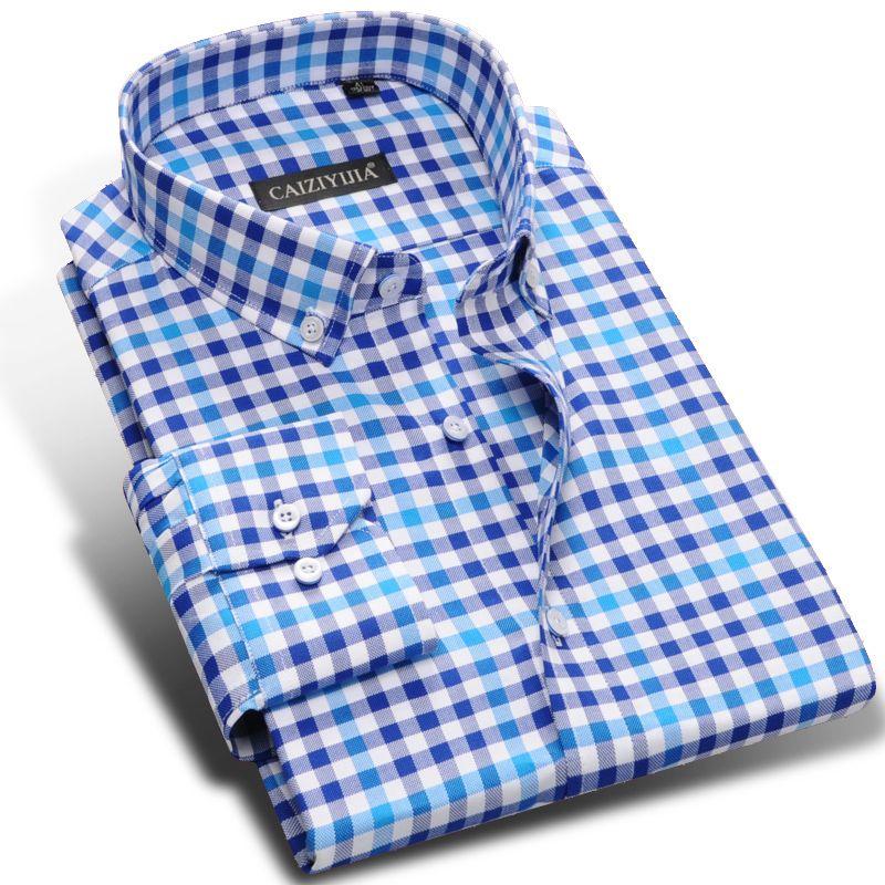 e6453dff51a Colorful Plaid Shirts 100% Cotton Men s Long Sleeve Dress Shirt Slim Fit  Smart Casual Business Formal Shirt Button Down Collar