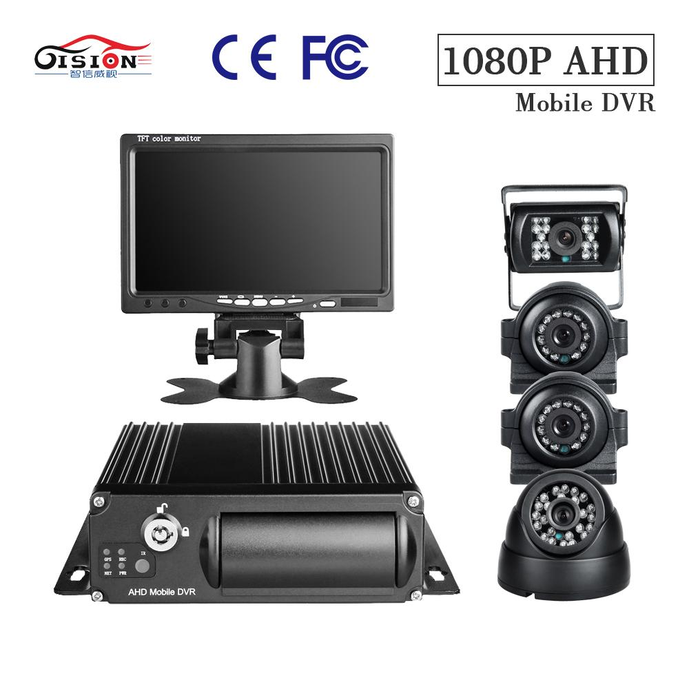 GISION 4CH 1080P SD Card Mobile DVR Kits Playback I/O Alarm Cycling Record  4Pcs AHD Camers and 7inch VGA Monitor G-Senser