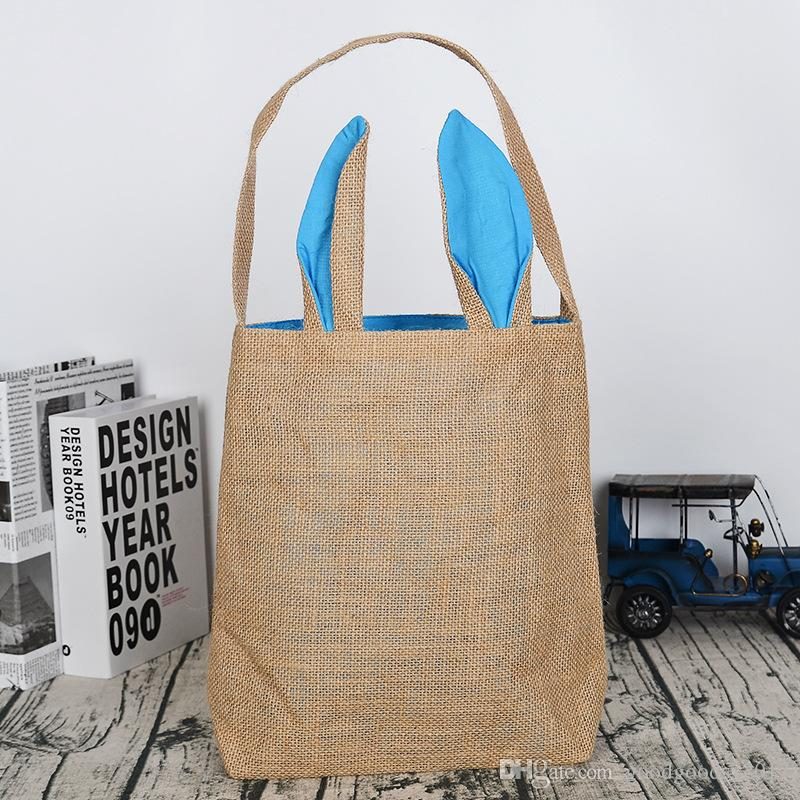 Funny Design Easter Bunny Bag Ears Bags Cotton Material Easter Burlap Celebration Gifts Christma Bag Canvas Handbag MK243