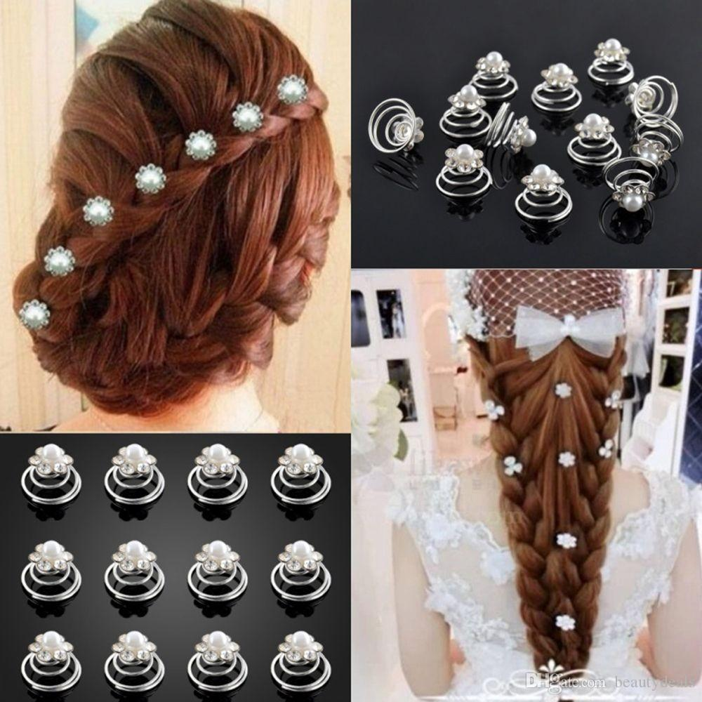 New Bright Crystal Flower Pearl Spiral Hair Clips Twists Hairpins for Wedding Prom Rhinestone Headpiece Hair Accessories