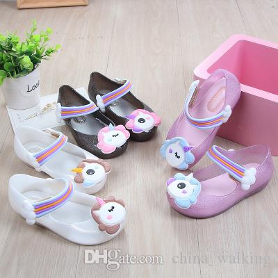 16f1af225a65d2 Children Unicorn Shoes Mini Melissa Princess Sandals Cartoon Jelly Sandals  Toddler Sandals Breathable Cute Non Slip Pink Shoes Salt Water Sandals From  ...
