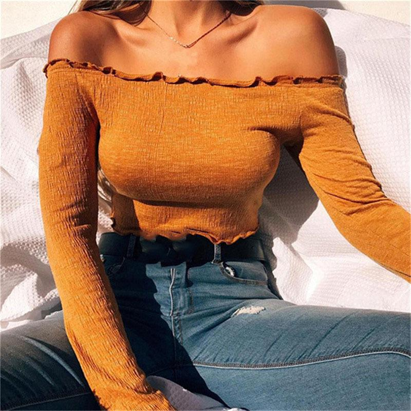 Off Shoulder T Shirt Women Soild Color Cropped Top Fungus Long Sleeve Shirt Sexy Lady Slim Fit Cotton T-shirt Female Tees